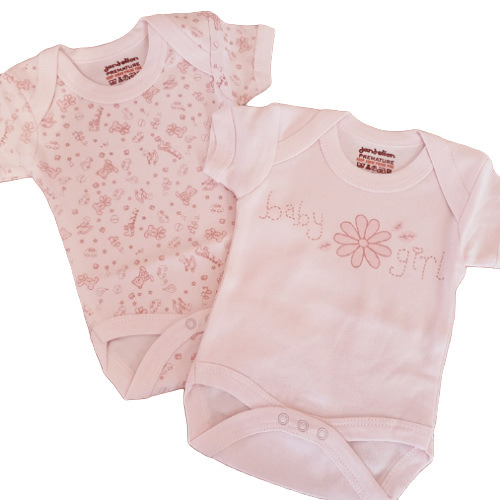 tiny baby clothes 5-8lb pack 2 pretty girls vests pink GIRLY GIFT