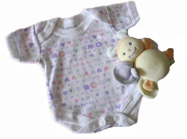 Prem baby girls baby vest CUDDLES N KISSES 5-8lb