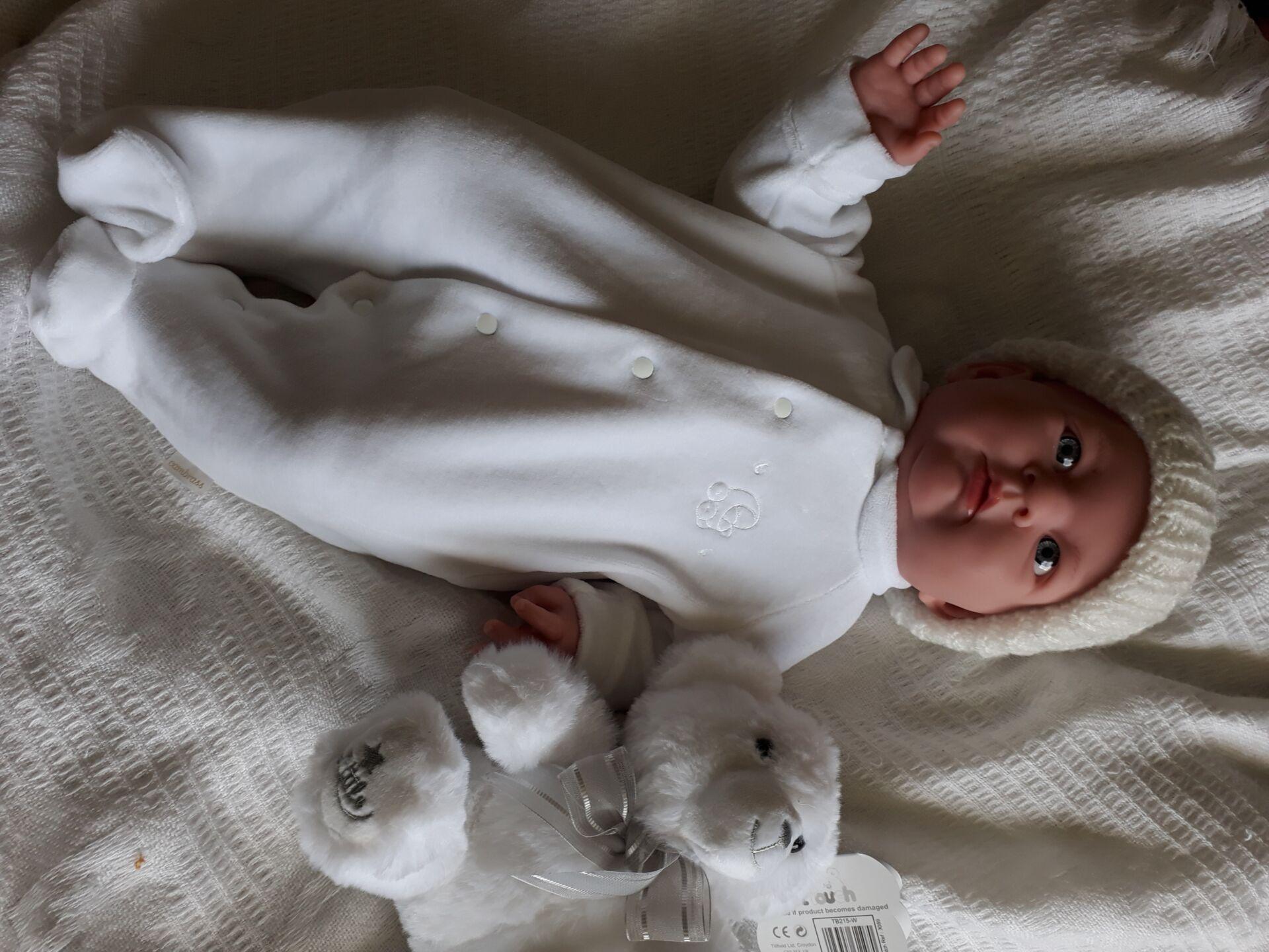 premature tiny baby grow velour EARLY BIRD white 3-5lb