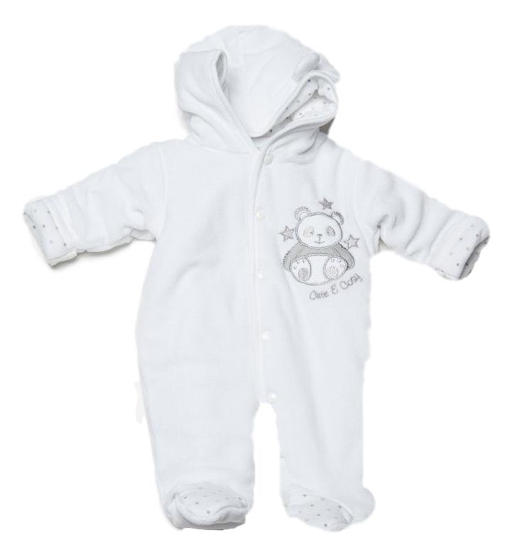 prem baby 5-8lb pramsuit in white padded