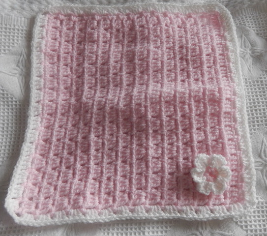 SMALLEST infant burial Blankets Crochet LITTLE BLOOM pink baby born 22-24 week