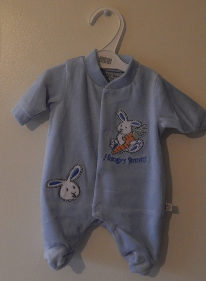 premature baby clothes cute babygrow BEST BUNNY Sleepsuit 3-5lb blue